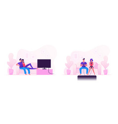 young family couple sitting on sofa playing vector image