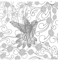 Zentangle stylized hummingbird in flower garden vector