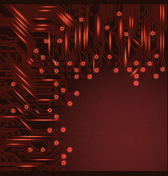 abstract electronics red background with circuit vector image