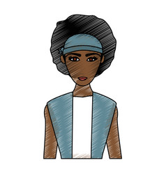 color pencil cartoon half body brunette woman with vector image
