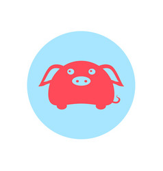 cute piggy circular icon vector image