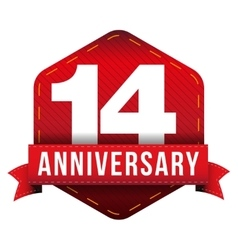 Fourteen year anniversary badge with red ribbon vector image vector image