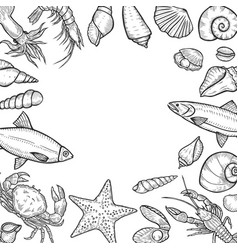 hand drawn seafood background vector image vector image