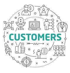 line flat circle customers vector image vector image