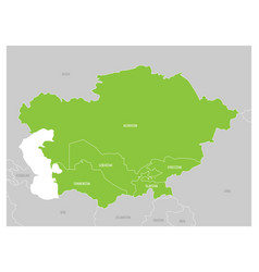 map of central asia region with green highlighted vector image