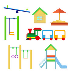 set of objects to be placed on the playground vector image