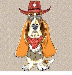 Basset Hound breed clothing sheriff vector image vector image