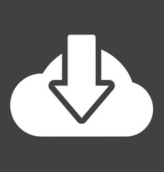 Cloud download solid icon seo and website vector