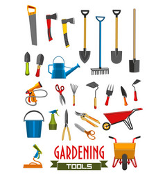 farm gardening tools isolated icons vector image