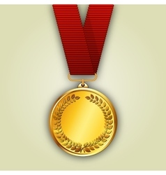 gold medal on red ribbon vector image vector image