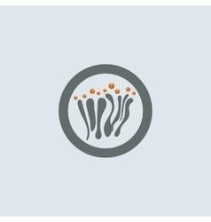 Gray-orange Mucous Round Icon vector image vector image