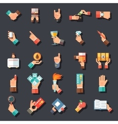 Hands Symbols Accessories Icons Set Flat Design vector image