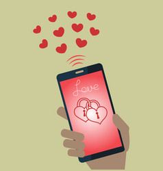 mobile phone sending valentines hearts vector image