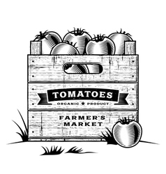 Retro crate of tomatoes black and white vector image