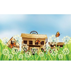 Three houses at the top of the hills vector image
