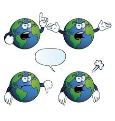 Angry Earth globe set vector image