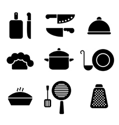 Black minimal kitchen cookware icon set vector image vector image