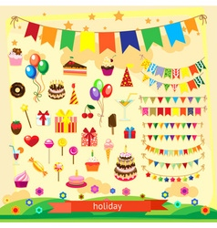 Holiday icon set flat design vector image vector image