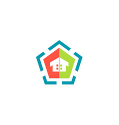 home geometry colored logo vector image vector image