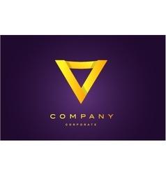 Alphabet letter V gold yellow logo vector image
