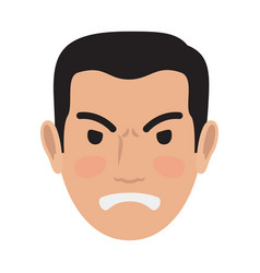 angry man avatar user pic front head view vector image