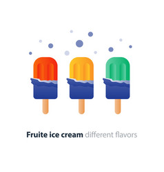 colorful ice cream on stick flavor variety cool vector image