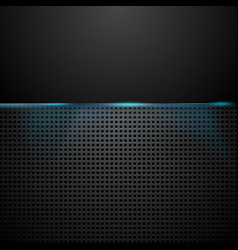 Dark perforated background with blue glow light vector image vector image
