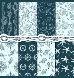different seamless patterns set of marine and vector image