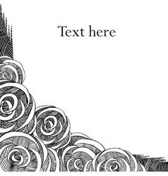 Roses black and white frame vector image