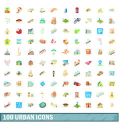 100 urban icons set cartoon style vector image