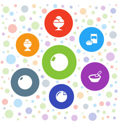 7 bowl icons vector image