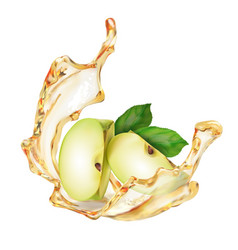 A splash apple juice or nectar with slices f vector