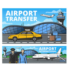 airport plane on runway pilot and stewardess vector image