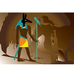 Ancient egypt god in side of the hill vector