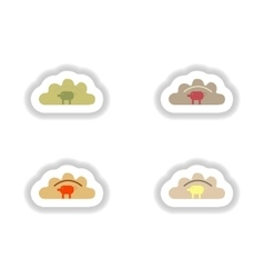 Assembly paper stickers Ukrainian dumplings with vector