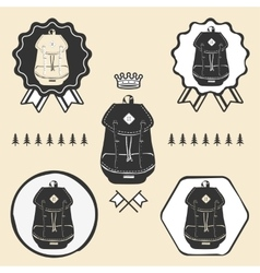 Backpack vintage rucksack outdoor symbol emblem vector