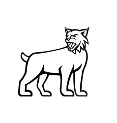 Bobcat or lynx cat standing side view mascot vector