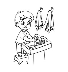 Boy washes his hands vector