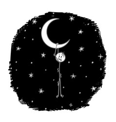 cartoon of man dreamer hanging on the crescent or vector image