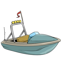 Cartoon small blue motor boat with flag vector