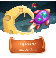 cartoon space cloud moon rocket vector image