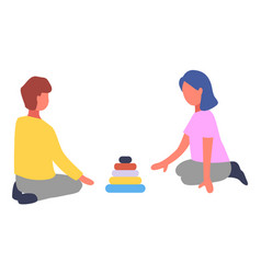 children playing with pyramid toy flat vector image