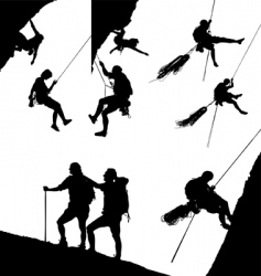 climbing silhouettes vector image