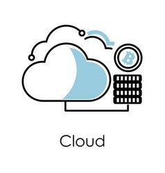 cloud technology isolated icon bitcoin mining vector image