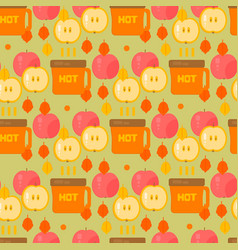 coffe and apples pattern vector image
