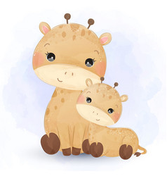 Cute giraffe motherhood in watercolor vector