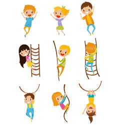 cute little kids jumping climbing and swinging vector image