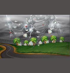 Cyclone hit rural village vector
