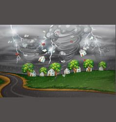 cyclone hit the rural village vector image