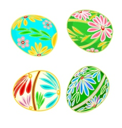 Decorated Easter eggs set floral pattern vector